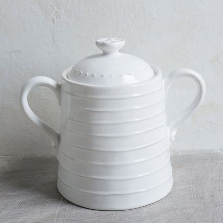 Barattolo bianco grande in ceramica con manici - Luxe Lodge