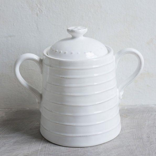 Barattolo bianco grande in ceramica con manici- Luxe Lodge