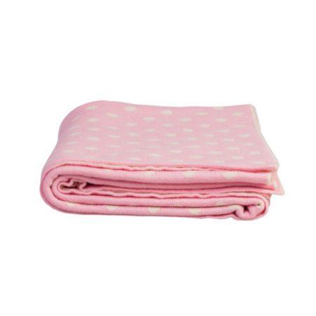 Coperta per neonati lavorata a maglia pois rosa - Isabelle Rose